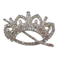 Vintage Large Clear Rhinestone Crown Brooch-Pin