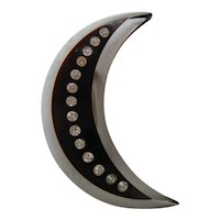 Vintage Bi Color Acrylic Clear and Black Crescent Moon with Rhinestone Brooch-Pin