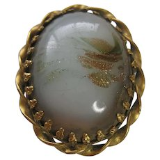 Vintage Victorian Gold Filled Art Glass Brooch- Pin