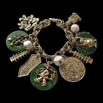 Vintage Chinese Charm Bracelet Figures Faux Pearls  with Bakelite Disks