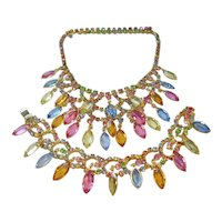 Vintage Multi Colored Open Back Crystal Bib Necklace and Bracelet Set
