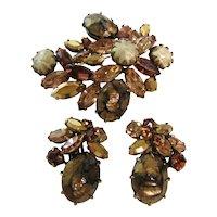 Vintage Regency Faux Pearl, Gold tone, and Amber Rhinestone Set