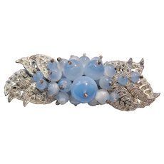 Vintage Early Miriam Haskell Light Blue Satin Glass and Rhinestone Brooch