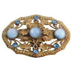 Vintage Blue Czech Brass and Satin Glass Brooch-Pin