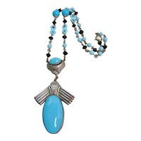Vintage Egyptian Revival Blue Glass Necklace