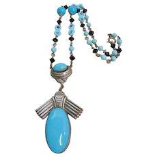 Vintage Egyptian Revival Blue Glass Necklace
