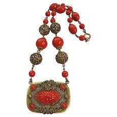 Vintage Tomato Red Czech Brass and Glass Necklace