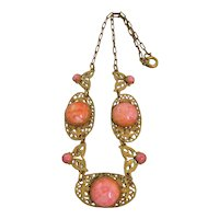 Vintage Czech Salmon Colored Glass and Brass Necklace