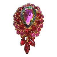 Vintage Large Signed Kramer Watermelon and Red Rhinestone Brooch-Pin