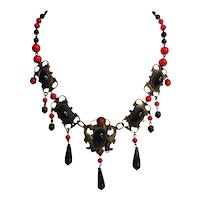 Vintage Signed Czechoslovakia Brass -Red and Black Glass Festoon Necklace