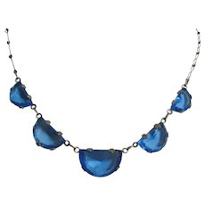 Vintage Art Deco Silver tone and Blue Glass Half Moon Necklace