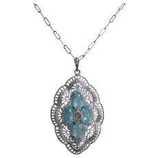 Edwardian Silver Plate Filigree Necklace-Blue and Clear Glass with Paperclip Chain