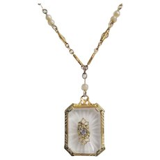 Vintage Art Deco Camphor Glass Gold tone Necklace