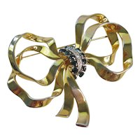Vintage Large Retro Modern Gold Tone and Rhinestone Bow Brooch-Pin
