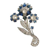 Vintage Blue and Clear Rhinestone Brooch-Pin