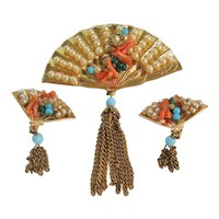Vintage Coro Fan Brooch and Earrings Set