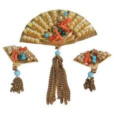Vintage Coro Fan Brooch and Earrings Set