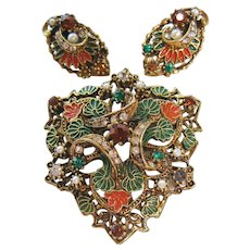 Vintage Art Enamel Shield Brooch and Earrings Set