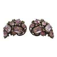 Vintage Lavender Rhinestone Hollycraft Earrings
