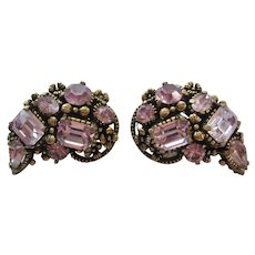 Vintage Lavender Rhinestone Hollycraft Earrings
