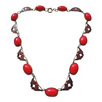 Vintage Czech Art Deco Lipstick Red Glass and Enamel Necklace