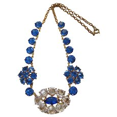 Art Deco Cobalt Blue and Clear Crystal Necklace