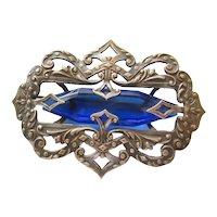 Vintage Large Transitional Art Nouveau/Arts and Crafts Cobalt Blue Sash Pin-Brooch