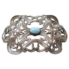 Vintage Silver tone Art Nouveau- Sash Pin-Brooch with Turquoise Glass Accent