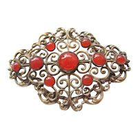 Vintage Sterling Silver Filigree Carnelian Brooch-Pin