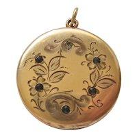 Vintage Victorian Gold Filled Locket with Original Photos