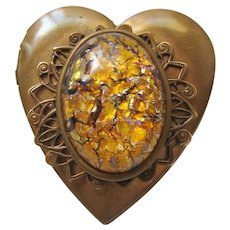 Vintage Large Heart Brass Brooch Locket with Art Glass Cab Center
