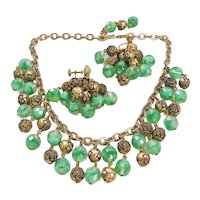Vintage Green Givre Art Glass and Brass Rose Necklace and Earrings Set