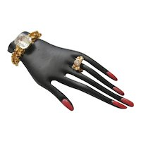 Vintage Black Hand Brooch with Jewelry and Painted Nails