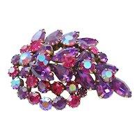 Vintage Kramer Purple Aurora Rhinestone Brooch-Pin
