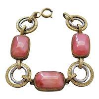 Vintage Art Deco Pink Satin Glass Bracelet