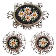 Vintage Italian Mosaic Black and White Flower Set