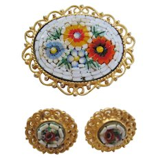 Vintage Italian Mosaic White and Multi Colored Flower Set