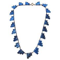 Vintage Cobalt Blue Art Deco Czech Step Mirror Glass Necklace
