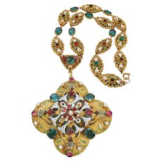 Vintage Rare Signed Hobe Austro-Hungarian Style Glass and Enamel Necklace