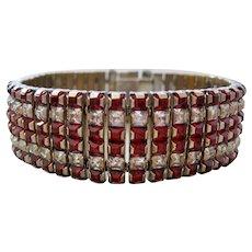 Vintage Red and Clear Line Bracelet