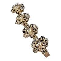 Vintage Hollow Gold tone Floral Swirl Statement Panel-Link Bracelet