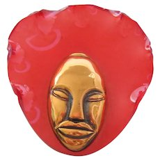 "Vintage Elzac Raspberry Pink Acrylic ""Bonnet Head"" Mask-Head- Brooch-Pin"