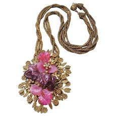 Vintage Large Brass Frank Hess for Miriam Haskell Pink and Purple Poured Glass Floral Necklace