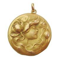 Art Nouveau Gold Filled Picture Locket Pendant