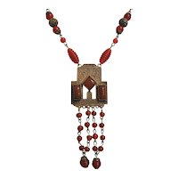Vintage Art Deco Signed Czech Carnelian Glass and Brass Necklace