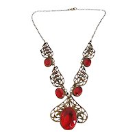 Vintage Art Deco Brass and Red Glass Necklace