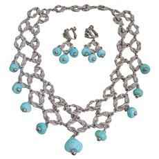 Mid Century Silver tone Link Necklace and Earrings Set with Art Glass Turquoise Beads