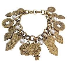 Vintage Asian Inspired Gold tone/Brass Charm Bracelet