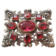 Vintage Silver Plate and Red Glass Brooch-Pin