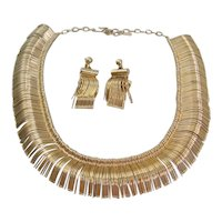 Vintage Mid Century Abstract Metal Necklace and Earrings Set
